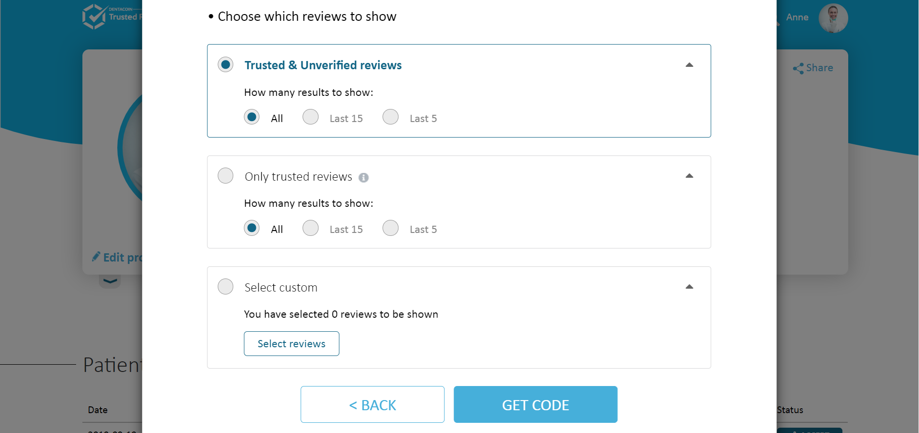 Widget choose which reviews to show